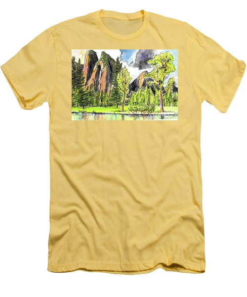 Men's T-Shirt (Slim Fit) featuring the painting Spring In Yosemite by Terry Banderas