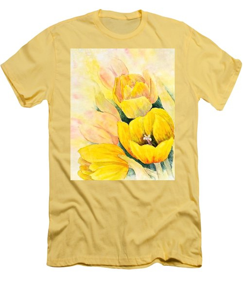 Men's T-Shirt (Slim Fit) featuring the painting Spring Tulips by Carolyn Rosenberger