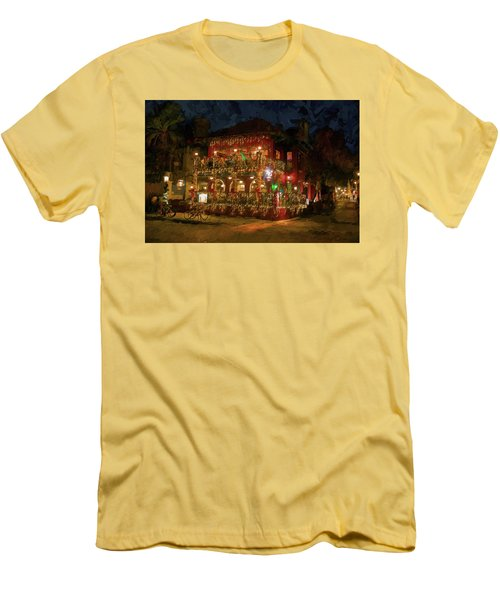 Men's T-Shirt (Slim Fit) featuring the photograph  St. Augustine Meehan's Pub by Louis Ferreira
