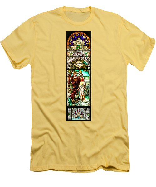 Men's T-Shirt (Slim Fit) featuring the photograph Stained Glass Scene 2 Crop by Adam Jewell