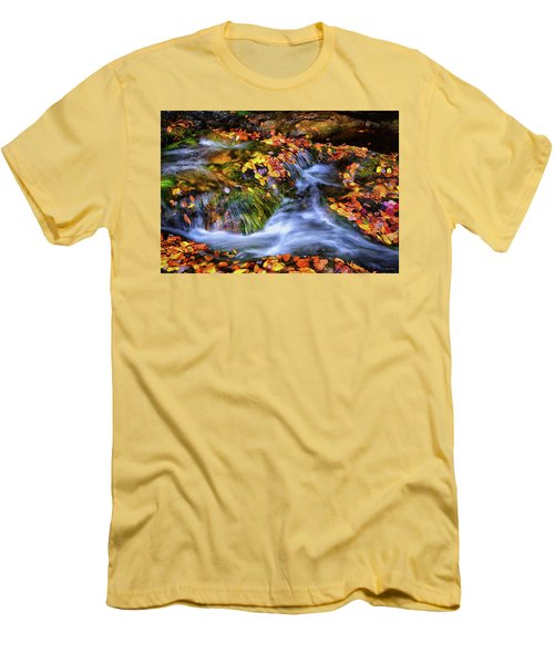 Standing In Motion - Leaves On A Rock 007 Men's T-Shirt (Slim Fit) by George Bostian