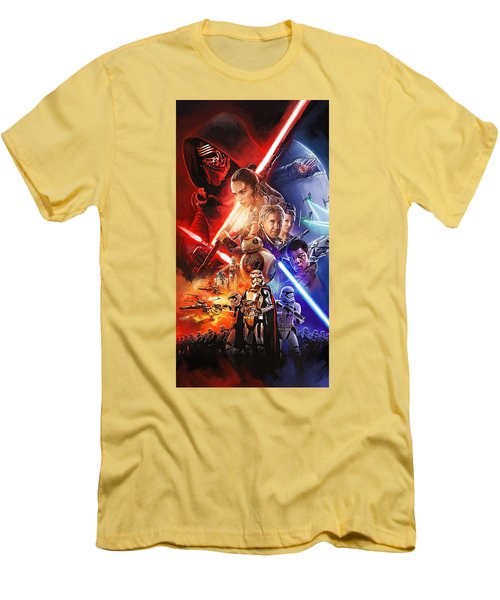 Men's T-Shirt (Slim Fit) featuring the painting Star Wars The Force Awakens Artwork by Sheraz A