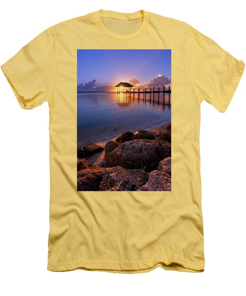 Starburst Sunset Over House Of Refuge Pier In Hutchinson Island At Jensen Beach, Fla Men's T-Shirt (Slim Fit) by Justin Kelefas