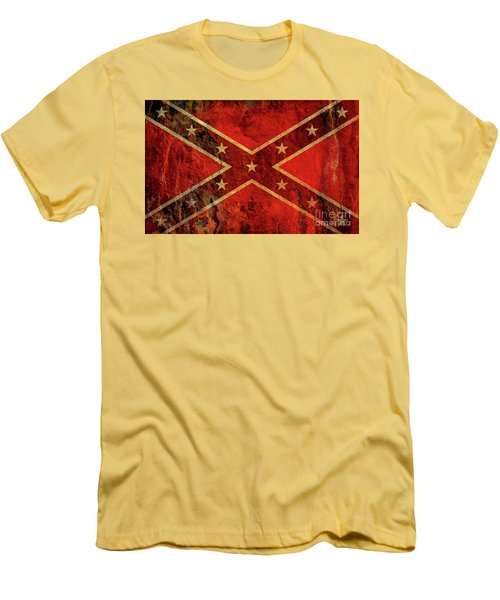Men's T-Shirt (Slim Fit) featuring the digital art Stars And Bars Confederate Flag by Randy Steele