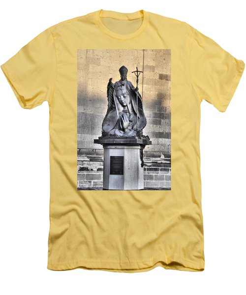 Men's T-Shirt (Slim Fit) featuring the photograph Statue Of Pope John Paul by Jim Walls PhotoArtist