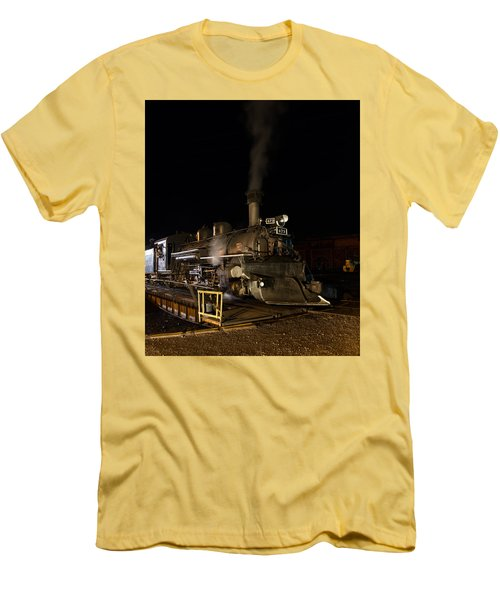 Men's T-Shirt (Slim Fit) featuring the photograph Locomotive And Coal Tender On A Turntable Of The Durango And Silverton Narrow Gauge Railroad by Carol M Highsmith