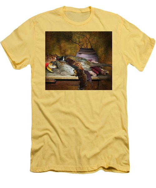Still Life With Pheasants And Corn Men's T-Shirt (Slim Fit) by Jeff Burgess