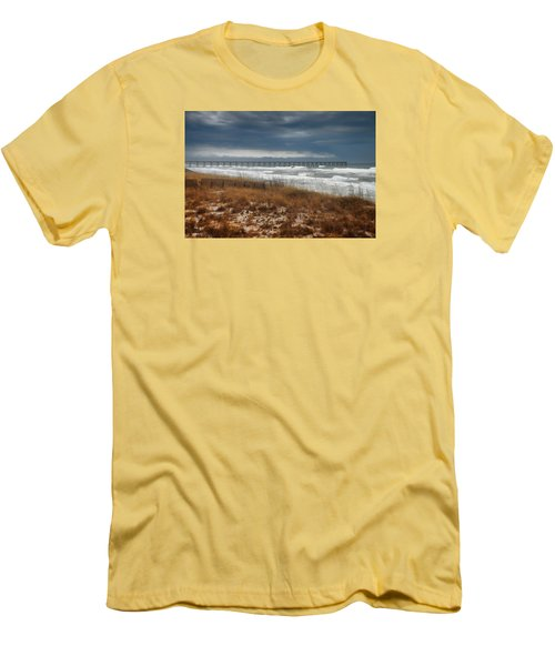 Stormy Day At The Pier Men's T-Shirt (Slim Fit) by Renee Hardison