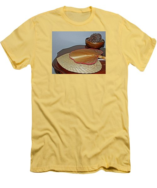Men's T-Shirt (Slim Fit) featuring the photograph Straw Fans by Judy Vincent