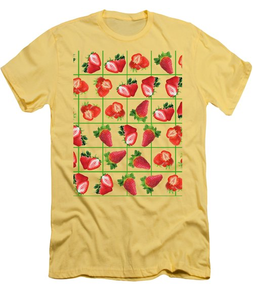 Strawberries Pattern Men's T-Shirt (Athletic Fit)