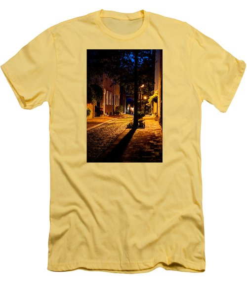 Men's T-Shirt (Athletic Fit) featuring the photograph Street In Olde Town Philadelphia by Mark Dodd