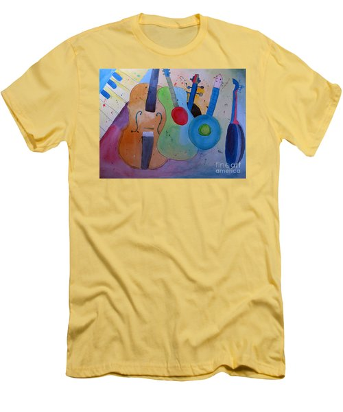 Men's T-Shirt (Slim Fit) featuring the painting Strings by Sandy McIntire