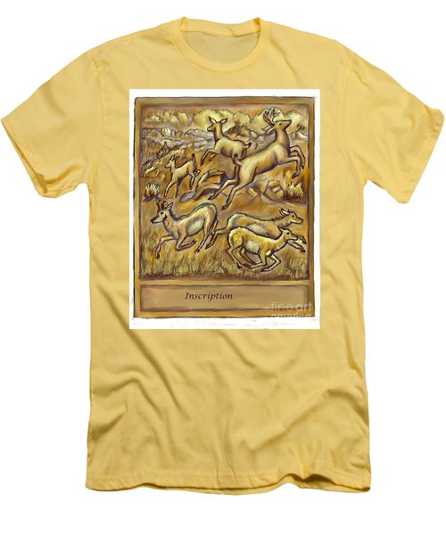 Study For Pronghorn And Deer Sculpture Men's T-Shirt (Slim Fit) by Dawn Senior-Trask