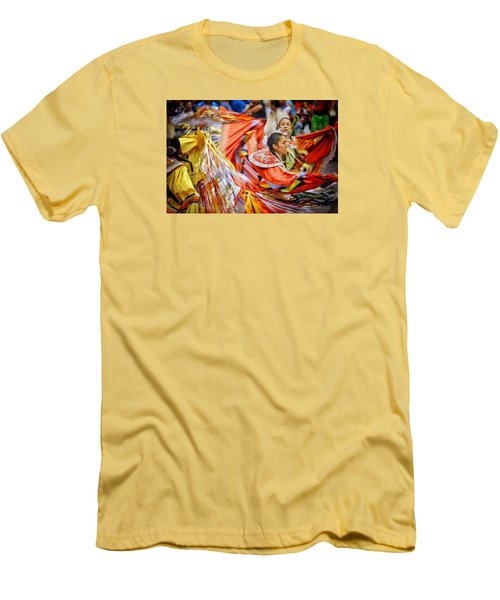 Men's T-Shirt (Slim Fit) featuring the photograph Fancy Shawl Dancers 3 by Clarice Lakota