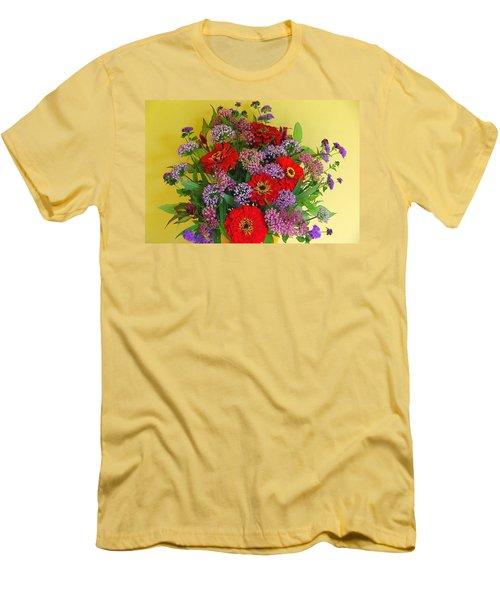 Men's T-Shirt (Slim Fit) featuring the photograph Summer Flower Bouquet by Byron Varvarigos