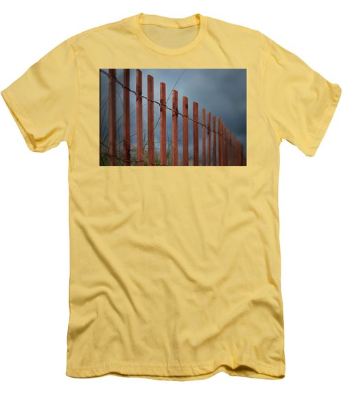 Men's T-Shirt (Athletic Fit) featuring the photograph Summer Storm Beach Fence by Laura Fasulo