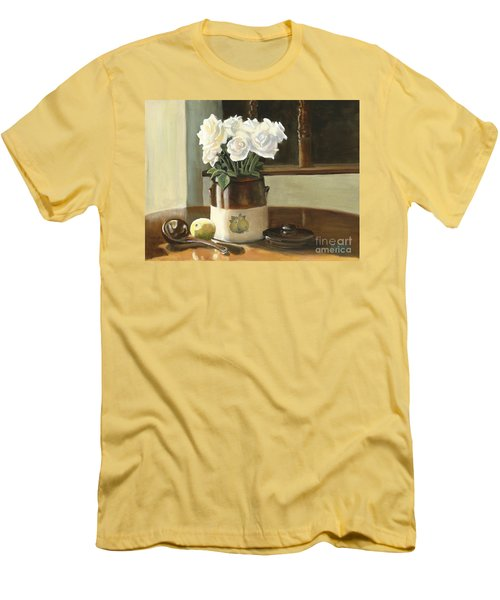 Sunday Morning And Roses - Study Men's T-Shirt (Slim Fit) by Marlene Book