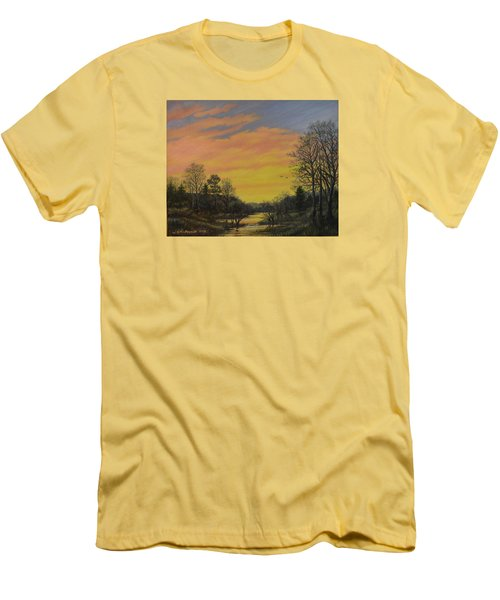 Men's T-Shirt (Slim Fit) featuring the painting Sundown Glow by Kathleen McDermott