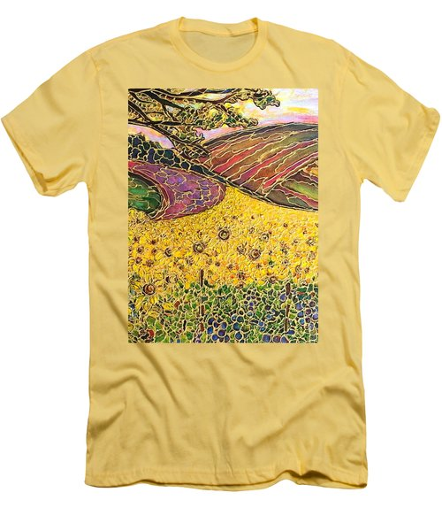 Men's T-Shirt (Slim Fit) featuring the painting Sunflower Fields by Rae Chichilnitsky