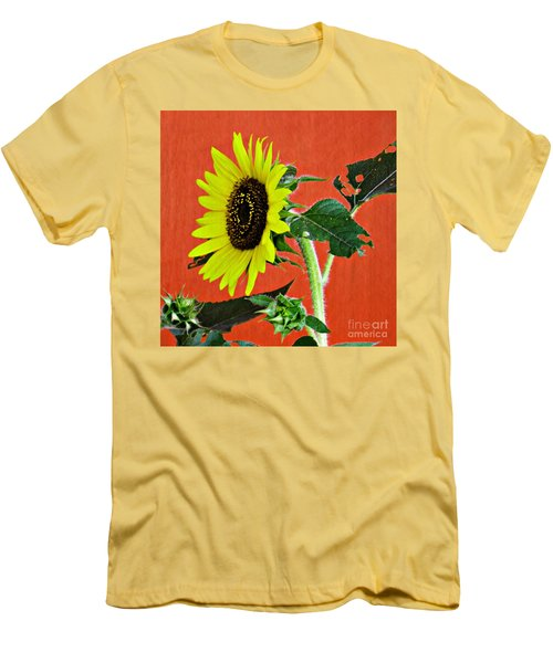 Men's T-Shirt (Slim Fit) featuring the photograph Sunflower On Red 2 by Sarah Loft