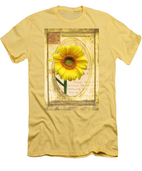 Sunflower On Vintage Postcard Men's T-Shirt (Slim Fit) by Nina Silver
