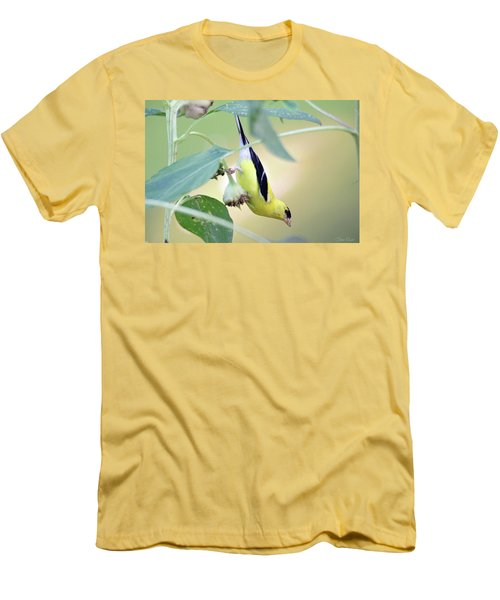 Men's T-Shirt (Athletic Fit) featuring the photograph Sunflower Seed Snack by Trina Ansel