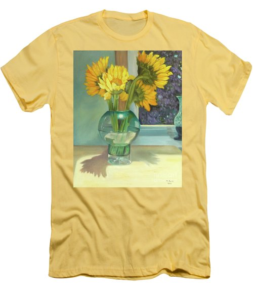 Men's T-Shirt (Athletic Fit) featuring the painting Sunflowers In A Glass Vase Number Three by Marlene Book