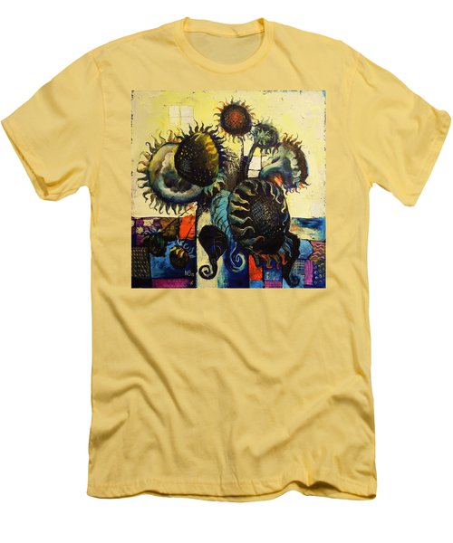 Men's T-Shirt (Slim Fit) featuring the painting Sunflowers by Mikhail Zarovny