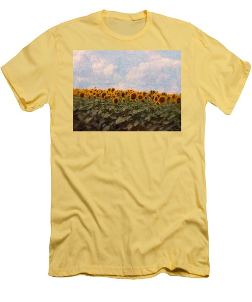 Men's T-Shirt (Slim Fit) featuring the photograph Sunflowers by Robin Regan