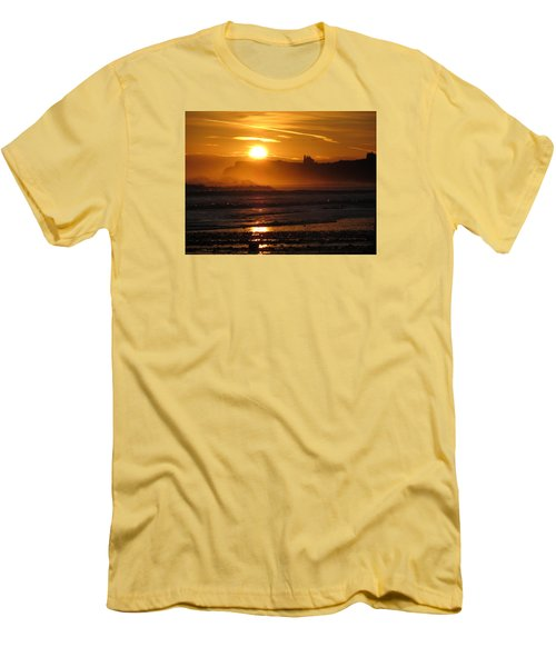 Men's T-Shirt (Slim Fit) featuring the photograph Sunrise Over Sandsend Beach by RKAB Works