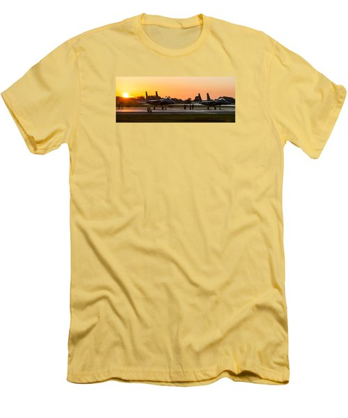Sunset At Raf Lakenheath Men's T-Shirt (Slim Fit) by Tim Beach