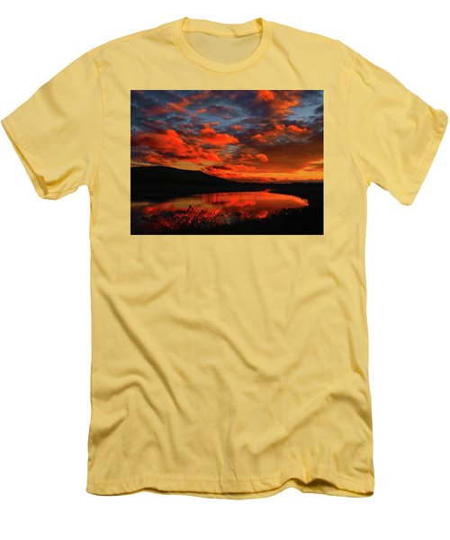 Sunset At Wallkill River National Wildlife Refuge Men's T-Shirt (Slim Fit) by Raymond Salani III