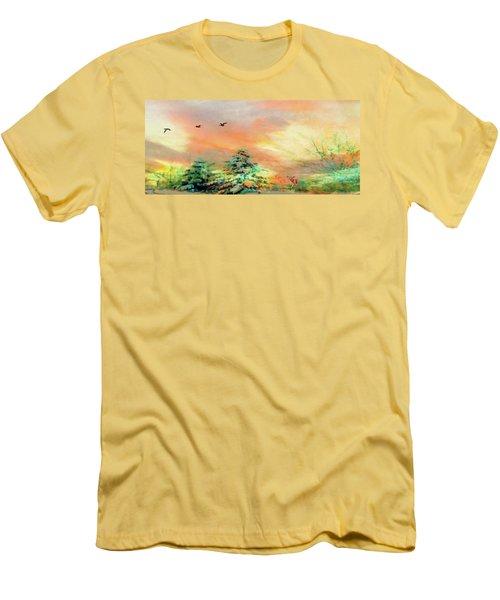 Sunset At Winter Wonderland Men's T-Shirt (Slim Fit) by Mike Breau
