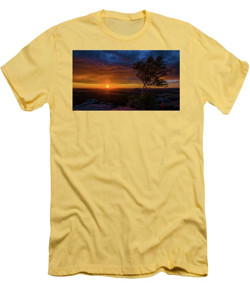 Sunset In Saxonian Switzerland Men's T-Shirt (Slim Fit) by Andreas Levi
