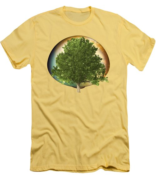 Sunset Oak Tree Cartoon Men's T-Shirt (Slim Fit) by Linda Phelps