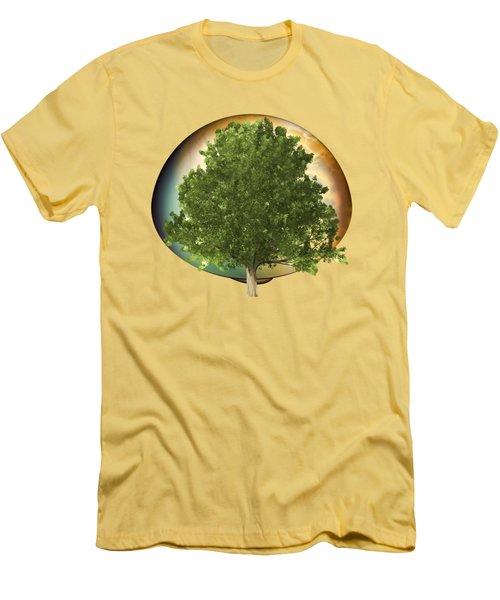 Men's T-Shirt (Slim Fit) featuring the digital art Sunset Oak Tree Cartoon by Linda Phelps