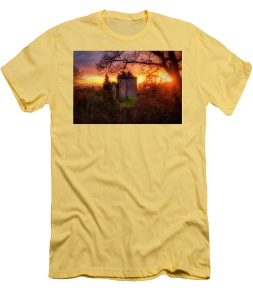 Men's T-Shirt (Athletic Fit) featuring the photograph Sunset Over Castle Campbell In Scotland by Jeremy Lavender Photography