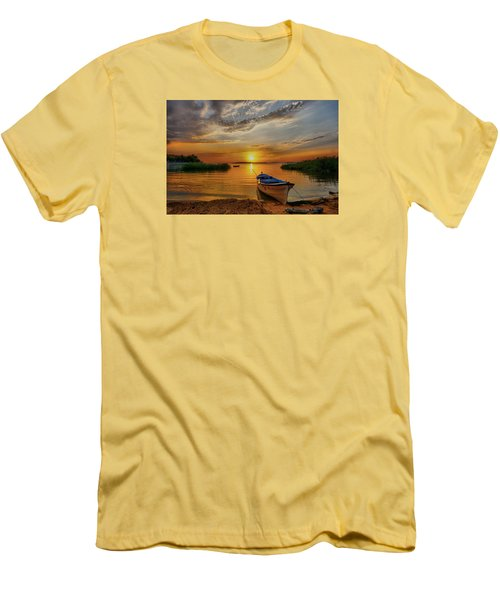 Sunset Over Lake Men's T-Shirt (Slim Fit) by Lilia D