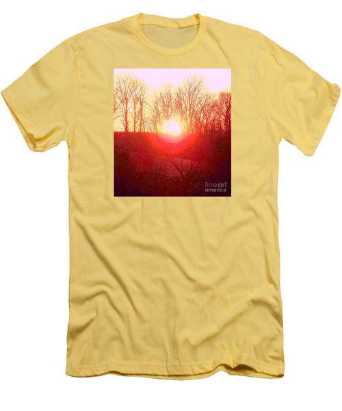 Men's T-Shirt (Slim Fit) featuring the photograph Sunset Red Yellow by Shirley Moravec
