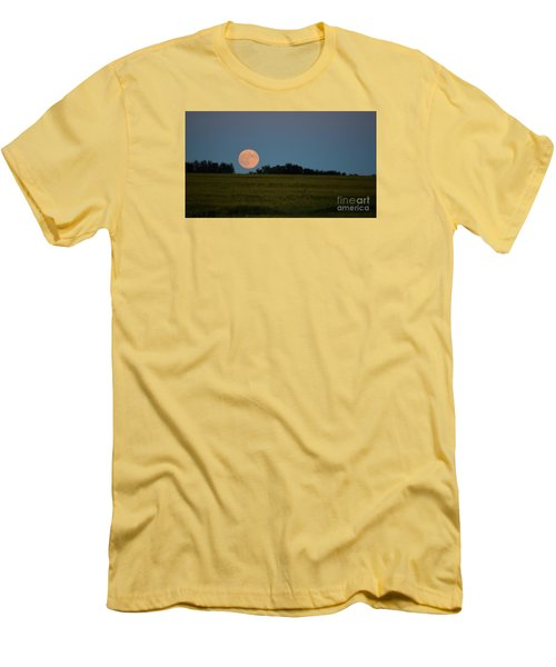 Super Moon Over A Bean Field Men's T-Shirt (Slim Fit) by Mark McReynolds