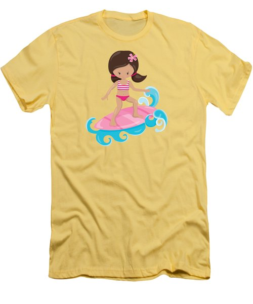 Surfer Art Catch A Wave Girl With Surfboard #19 Men's T-Shirt (Athletic Fit)