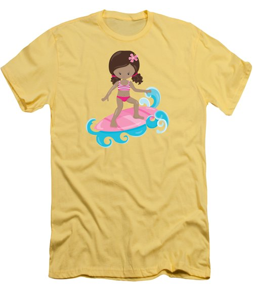 Surfer Art Catch A Wave Girl With Surfboard #21 Men's T-Shirt (Athletic Fit)