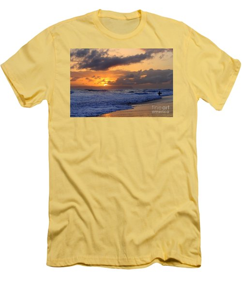 Surfer At Sunset On Kauai Beach With Niihau On Horizon Men's T-Shirt (Slim Fit) by Catherine Sherman