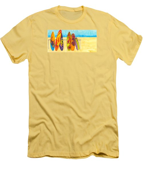 Surfing Buddies - Surf Boards At The Beach Illustration Men's T-Shirt (Athletic Fit)