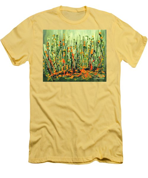 Men's T-Shirt (Slim Fit) featuring the painting Sweet Jammin' Peas by Holly Carmichael