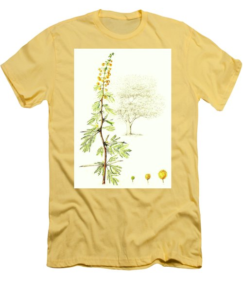 Men's T-Shirt (Slim Fit) featuring the painting Sweet Thorn Botanical Illustration by Heidi Kriel
