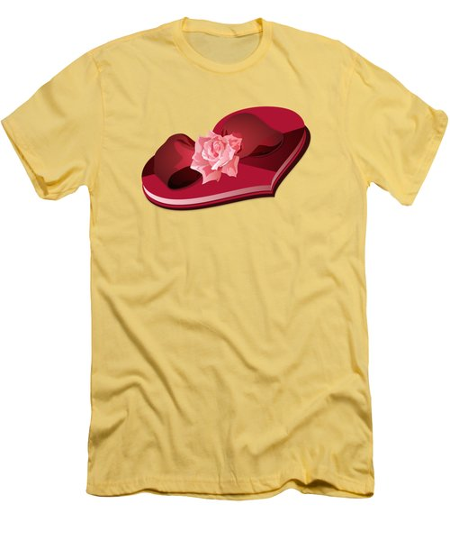 Sweetheart Candy Box With Pink Rose Men's T-Shirt (Athletic Fit)