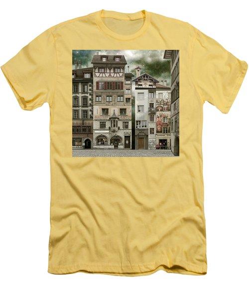 Swiss Reconstruction Men's T-Shirt (Slim Fit) by Joan Ladendorf
