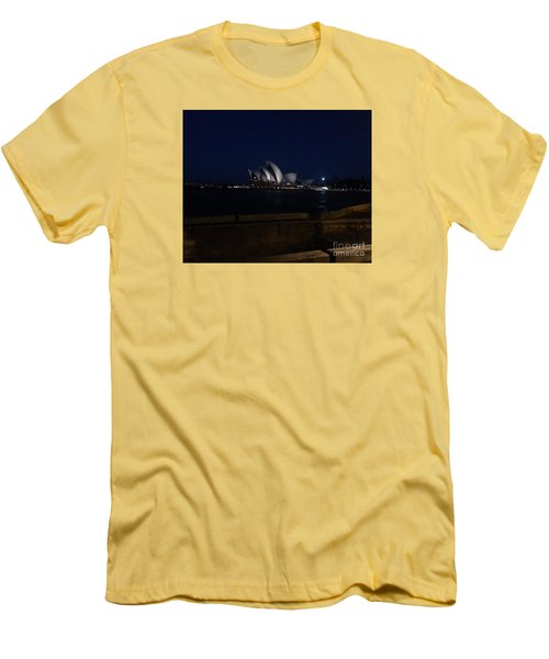 Sydney Opera House At Night Men's T-Shirt (Slim Fit) by Bev Conover