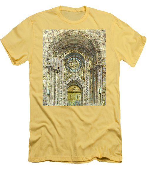 Men's T-Shirt (Slim Fit) featuring the mixed media Synagogue by Tony Rubino